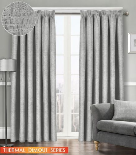 SEMI PLAIN READY MADE THERMAL WOVEN MATERIAL DIMOUT PENCIL PLEAT PAIR CURTAINS SILVER COLOUR